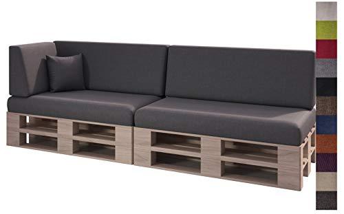 sunnypillow Set de 6 Coussins pour Canapé Palette Intérieur/Extérieur plusieures Tailles et Couleurs à Choisir Lisse Lounge (Assise + Dossier) Anthracyt