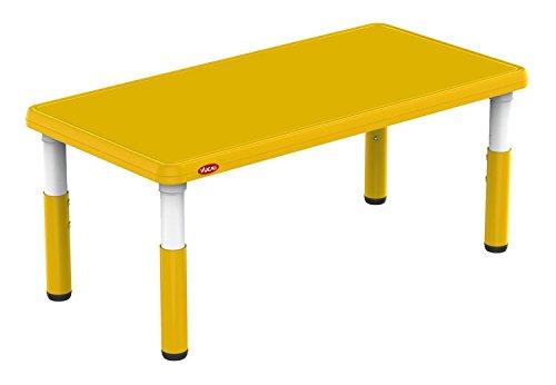 Bieco 04000121 - Kindertisch gelb, höhenverstellbar, Tischplatte, ca. 120 x 60 x 8 cm