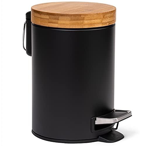 Kazai. 3L Designer Badkamer afvalbak   Zachtsluitend Bamboe deksel   Pedaalemmer met afneembare emmer, anti-vingerafdruk en comfort pedaal   Zwart