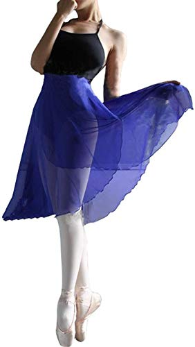 Hoerev Erwachsene Schiere Wrap Skirt Ballett Rock Ballett Tanz Dancewear,Königsblau,L