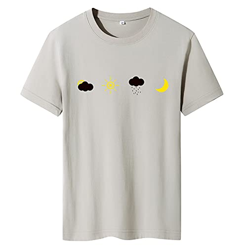 Shirt Sin Cuello Hombre Estilo Hip Hop Verano Cuello Redondo Hombre Shirt Personalidad Básica Estampado Moda Hombre T-Shirt Tendencia Transpirable Manga Corta Hombres Ropa De Calle F-Khaki XXL