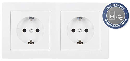 McPower Flair 2S Profi Stekkerdoos, 3-delig, stopcontacten met kinderbeveiliging, wit, mat
