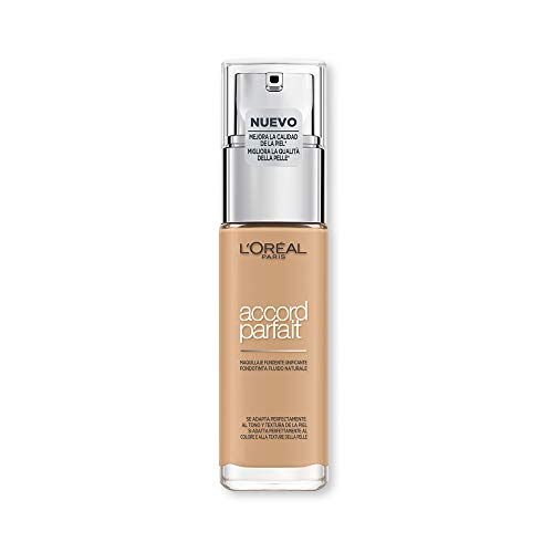 L Oréal Paris MakeUp Fondotinta Accord Parfait, Effetto Naturale, Arricchito con Acido Ialuronico, 3.D 3.W Beige Doré Golden Beige, 30 ml, Confezione da 1