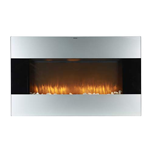 Caesar Fireplace 1500W Adjustable Temperature w/Remote Control, Silver 38-inch Wall Mount Electric Fireplace with stone pebbles and flame effect, Black