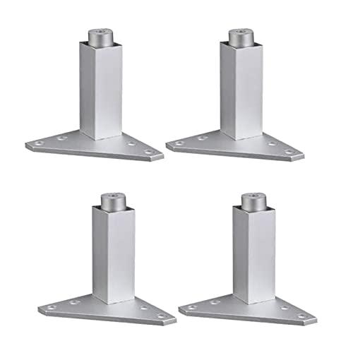 SHOP YJX 4 piezas muebles tazas 80mm ajustable plata aleación de aluminio triángulo base muebles patas gabinete sofá pies handware herramientas