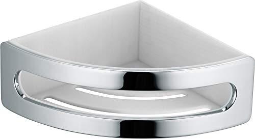KEUCO Eck-Duschkorb aus Metall hochglanz-verchromt und Kunststoff weiß, herausnehmbar, bruchfest, 18x18x7cm, Wandmontage in der Dusche, Elegance