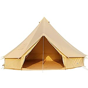 CACKOK 4 Season Cotton Canvas Bell Tent with Stove Jack,Waterproof Canvas Yurt Tent for Glamping 13ft/4M 16ft/5M Large…