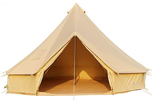 CACKOK 4 Season Cotton Canvas Bell Tent with Stove Jack,16.4ft/5M Large Waterproof Beige Yurt Tent with Roomy Space for Glamping,Family Camping,Hunting,Hiking,Party