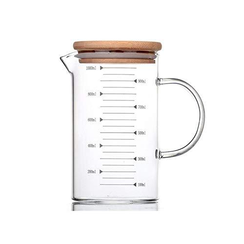 Vaso medidor Resistente al calor de cristal Copa escala de medición Copa Transparente Vaso de leche taza de café de bicarbonato de Microondas Copa de cristal (Color : With Bamboo Lid)