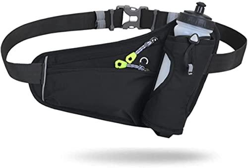 【unizom】 ランニング ポーチ ペットボトル ホルダー付き 揺れない 軽量 大容量 ウエストポーチ ウォーキング ジョギング (Black)