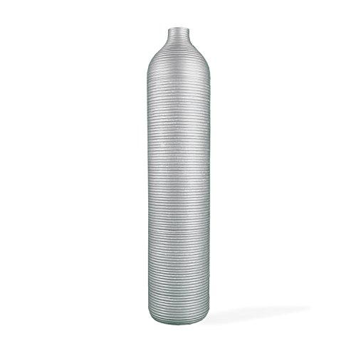 roro Tall Handcarved Silver Striped Etched Wood Vase, 22 Inch