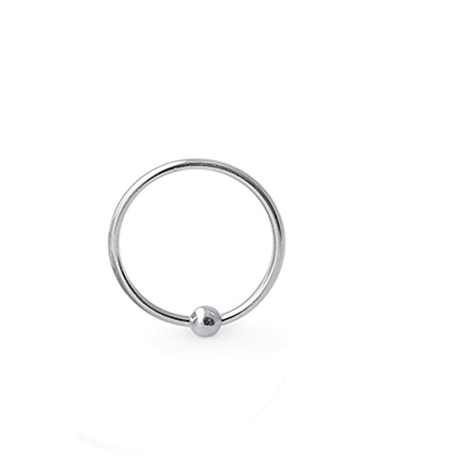 5/16 Inch - 8MM Length 20 Gauge (0.8MM) 925 Sterling Silver Captive Bead Nose Ring