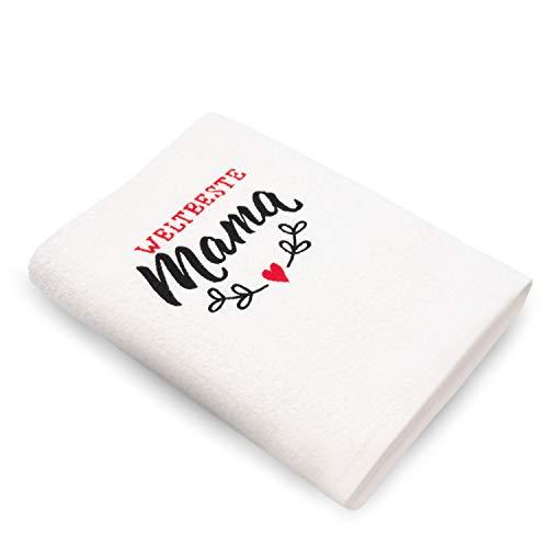 Das Original – Weltbeste Mama - Geschenkideen für Mütter / bestickte Geschenke zum Geburtstag / Muttertag Frauen / Handtuch 100x50cm aus 100{4c62b33c441e61880bc7dd1fdc75c73fe9c93c8db746675c4bc62e7b1274e8f6} Baumwolle / HISA DARIL® (Weiß)