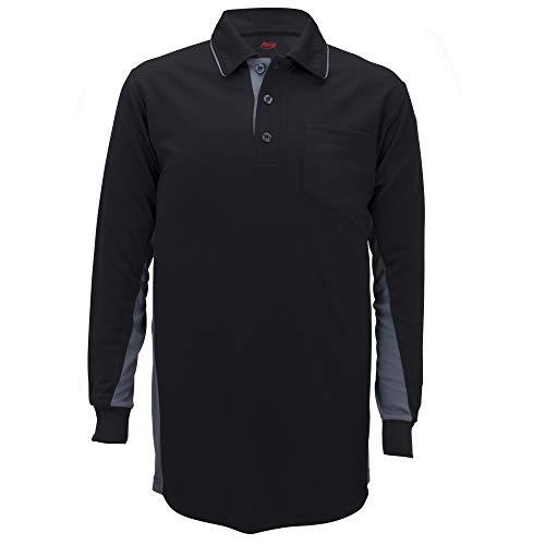 Adams USA MLB Style Baseball-Shirt, langärmlig, Größe für Brustschutz, Adams Umpire Shirt MLB BBSB Long Sleeve Wicking Poly XL BK/CG, schwarz, X-Large