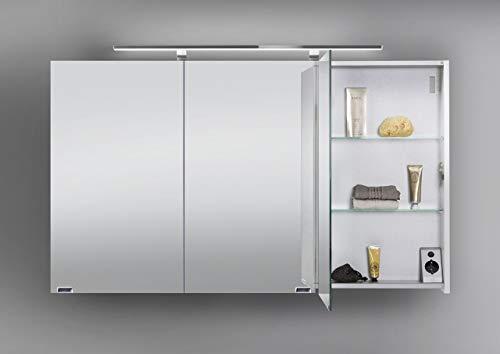 Intarbad ~ Spiegelschrank 120 cm LED Beleuchtung doppelseitig verspiegelt Weiß Hochglanz Lack IB5206