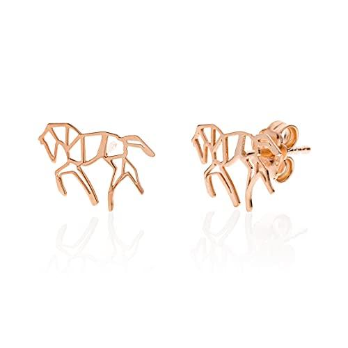 Aka Gioielli® - Pendientes Origami de caballo de plata 925 chapada en oro rosa para mujer y niña.