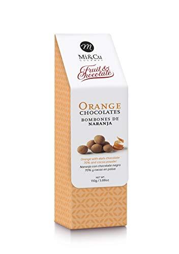 Mi&Cu - Bombones de Naranja 110 gr - Bombones de Naranja con chocolate negro 70% y cacao en polvo.