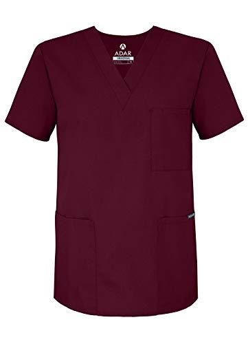 Adar Universal Unisex Pflegebekleidung - Medizinische Tunika mit V-Ausschnitt - 601 - Burgundy - XS