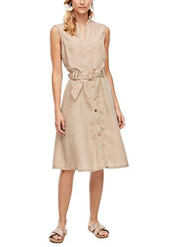 s.Oliver Damen Tailliertes Leinenkleid mit Gürtel beige 34