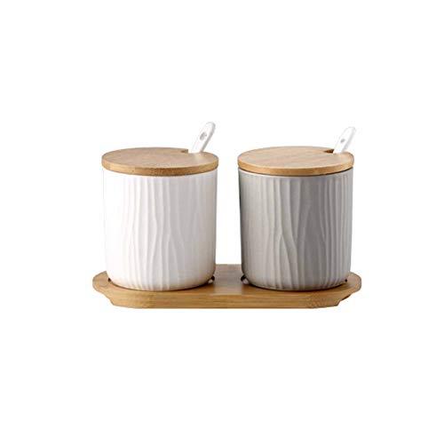 Tarros de Especias de cerámica 2 recipientes de Almacenamiento de Especias con Tapas y Cuchara Caja de Especias de 300 ml con Estante de Especias de Madera Herramientas (Blanco Gris)