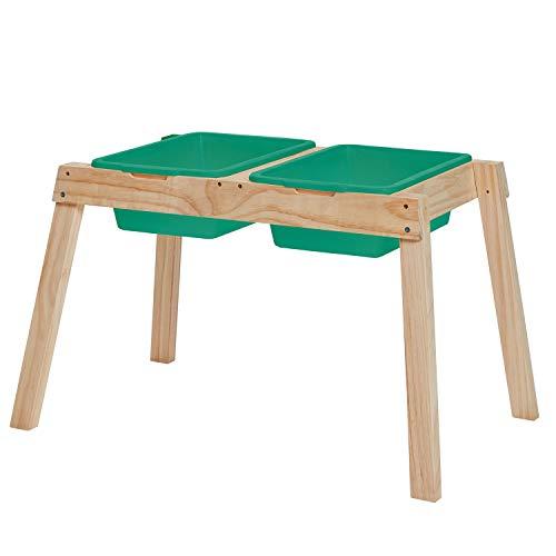 Miganeo Kinder Holz Matschtisch Kinder Garten Spieltisch für Sand und Wasser mit großen Wannen Natur 75214