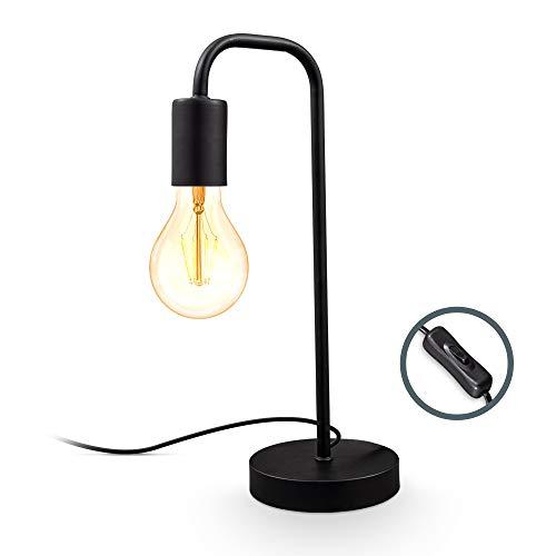 B.K.Licht I Lámpara de mesa retro curvada I negro mate I E27 I cable con interruptor I metal I lámpara de lectura redonda
