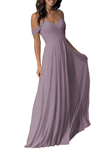 YUESUO Dresspic Dusty Mauve Wedding Bridesmaid Dress for Women 2020 Long Cold Shoulder Pleated Chiffon Formal Dress for Women