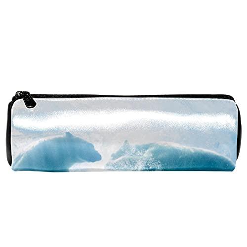 Dos osos polares debajo del agua estuche de lápices de papelería, bolsa de almacenamiento, organizador de cosméticos para la escuela, adolescentes, niñas, niños, hombres y mujeres