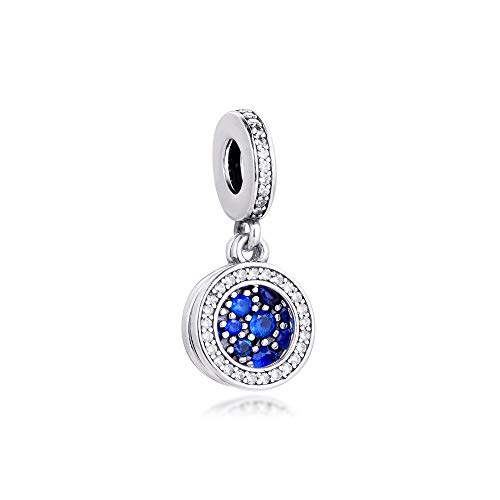 Pandora 925 Jewelry Bracelet Natural Sparkling Blue Disc Charms Sterling Silver Beads For Women Diy Gift