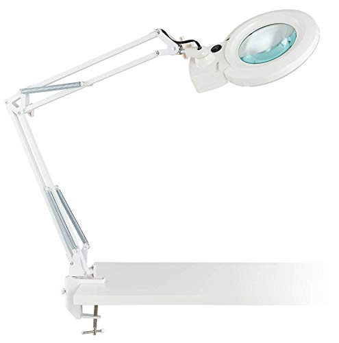 Clancy Modern Desk Table Lamp LED Architect Style White Metal Clamp On Adjustable Magnifying for Office Artwork Craft Sewing - 360 Lighting