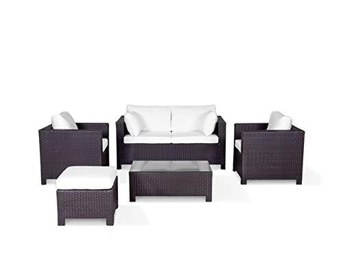 Beliani Milano Elegant Garden Furniture Set 5 Seater 1 Coffee Table Cushion Cream White Rattan