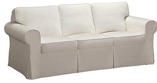 "HomeTown Market Sofa Covers Custom Made for Pottery Barn PB Basic Three Seater Sofa Slipcover (PB Basic 3 Seat (Width: 82.5""), Polyester Flax Light Gray)"