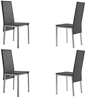 MOMMA HOME Set de 4 Sillas - Modelo Alida - Color Gris/Plata - Material Ecopiel/Metal - Medidas 43 x 53 x 94 cm