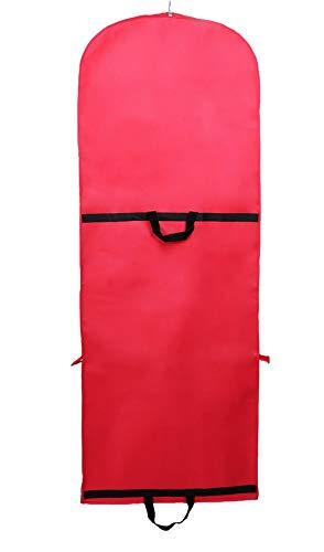 TUKA-i-AKUT Faltbar 150cm Atmungsaktiver Kleidersack mit Reißverschluss, Schutzhülle für Kleider/Anzüge/Mäntel, Transport & Säurefreie Langezeitlagerung, 2 Zubehörteile Taschen, Rot TKB1007