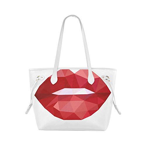 Plsdx Bolso de mujer de lujo con labios de diamante Kiss Me, bolso de viaje, bolso de mano, asas de gran capacidad, resistente al agua con asa duradera