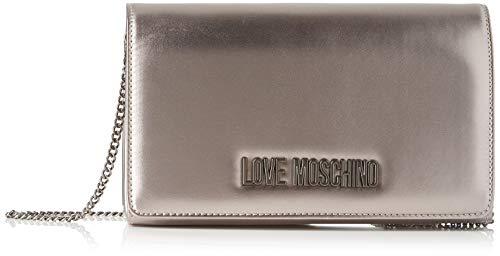 Love Moschino Borsa Metallic Pu, Tracolla Donna, Grigio (Fucile),...