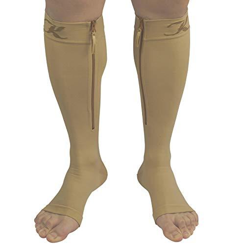 KEKING Zipper Medical Compression Stockings, Opaque, Open Toe 20-30 mmHg Graduated Compression Socks Knee High Leg Calf Support for Unisex, DVT, Varicose Veins, Shin Splints, Edema, Beige X-Large