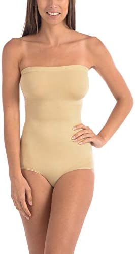 Body Beautiful Women s Strapless Bodysuit with Removable Straps Seamless Tummy Control Shaper product image