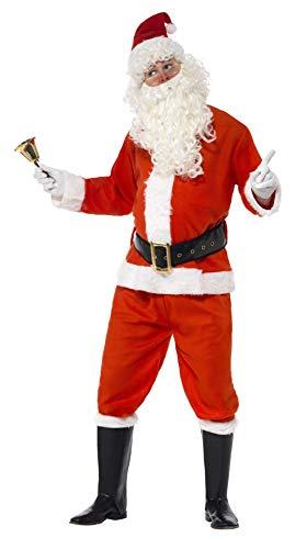 "Smiffys-34585XL Disfraz de Santa, con Chaqueta, pantalón, cinturón, Gorro, Guantes y Funda, Color Rojo, XL-Tamaño 46""-48"" (Smiffy"
