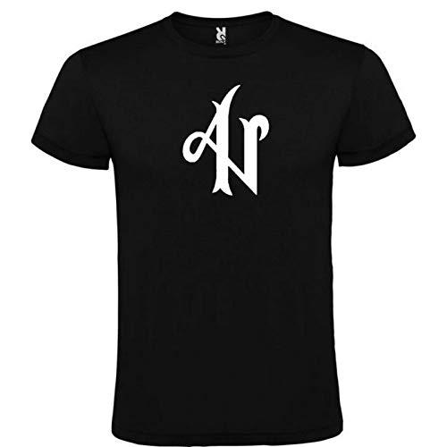 Camiseta Roly Negra con Logotipo de ADEXE Y NAU Hombre 100% Algodón Tallas S M L XL XXL Mangas Cortas (S)