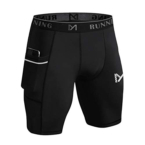 MEETYOO Pantalones Cortos Compresion Hombre, Mallas Deportivas Leggings Deporte Pantalones para Running Fitness Gym