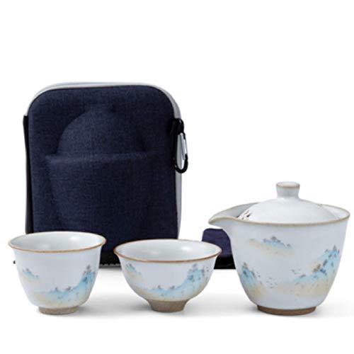 ZQJKL Chinesisch Keramik Travel Tea Set Tee-Service Aus Weißem Porzellan Mit Reisetasche 1 Teekanne 2 Teetassen Und 1…