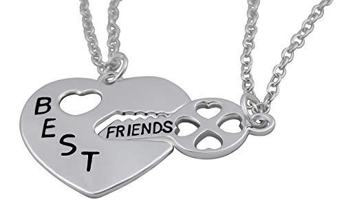 Hanessa 2 collares de plata de la amistad para niñas, mejores amigos, llaves de corazón, regalo para la mejor amiga