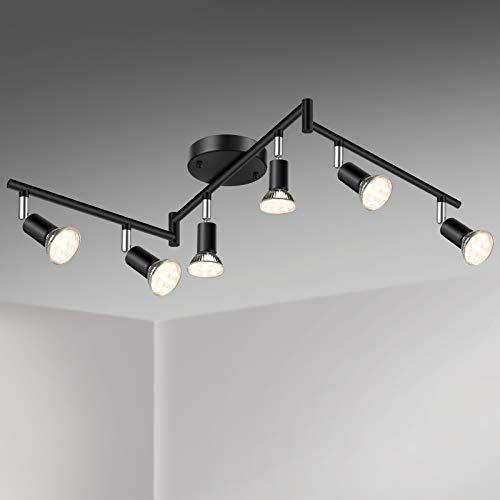 Unicozin LED 6 Light Track Lighting Kit, Black 6 Way Ceiling Spot Lighting, Flexibly Rotatable Light Head, Track Light Included 6 x LED GU10 Bulb (4W, Warm White 2700K, 400LM)