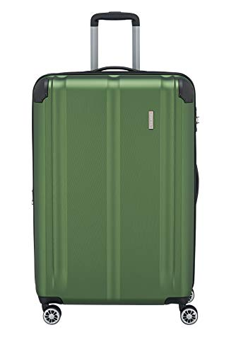 Travelite 4-Rad Koffer L mit TSA Schloss + Dehnfalte, Gepäck Serie CITY: Robuster Hartschalen Trolley mit kratzfester Oberfläche, 073049-80, 77 cm, 113 Liter (erweiterbar auf 124 L), grün