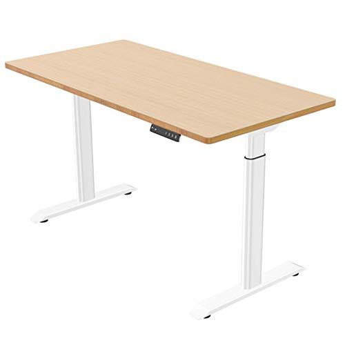 E.For.U® Q6 Elektrisch Höhenverstellbarer Schreibtisch + Bambus Echtholz Tischplatte(140x70 cm) Elektrisch höhenverstellbares Tischgestell 2 Motoren,2-Fach-Teleskop, mit Memory-Steuerung(weiß)