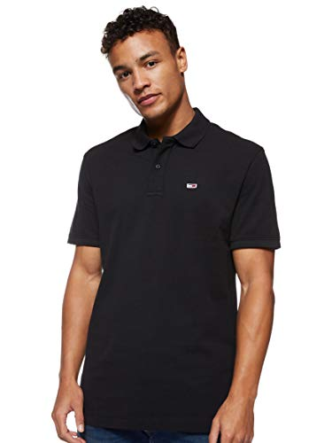 Tommy Jeans TJM Classics Solid Stretch Polo, Negro (Tommy Black BB U), X-Small para Hombre