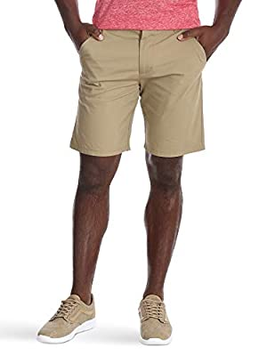 Wrangler Authentics Men's Performance Comfort Waist Flex Flat Front Short, Dark Khaki, 36