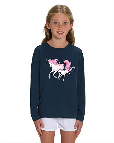 Hilltop Hochwertiges Kinder Mädchen Langarm T-Shirt aus 100{3758354650cbc52288e6eb09b724d1454ed5d03693d29aeeb20a3d154f681cb8} Bio Baumwolle mit wunderschönem Einhorn Motiv, Premium Kinder Tshirt für Freizeit und Sport, Size:122/128, Color:French Navy