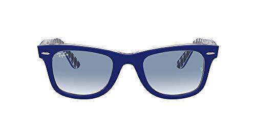 Ray-Ban Rb2140 Wayfarer Occhiali, Blu su Vichy Blu/Bianco, 50 Unisex-Adulto